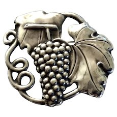 Art Nouveau Sterling Silver Grape Cluster Repoussé Brooch
