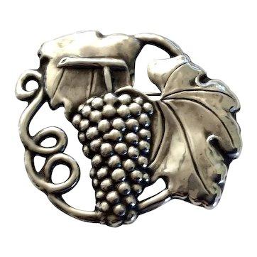 Art Nouveau Sterling Silver Grape Cluster Repoussé Brooch