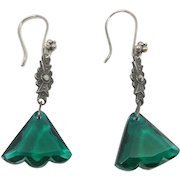 Vintage Sterling, Marcasite and Green Faceted Glass Dangle Earrings