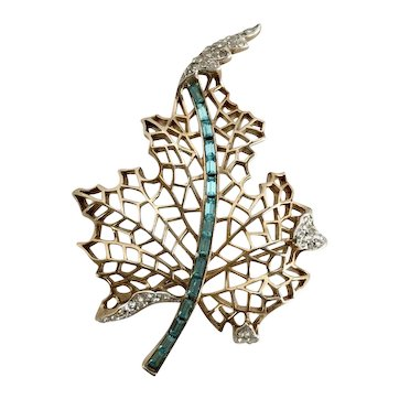 Crown Trifari Retro Leaf Brooch with Aqua Baguettes.