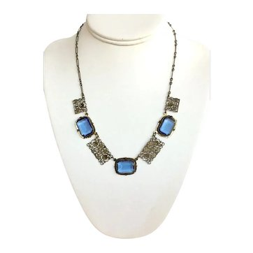 Vintage Blue Czech Glass Filigree Necklace