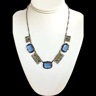 Vintage Blue Czech Glass Filigree Necklace