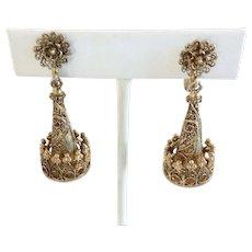 Silver Vermeil Filigree Crown Dangle Earrings