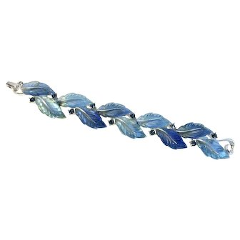 Lisner Blue Lucite Leaf 1960s Vintage Bracelet