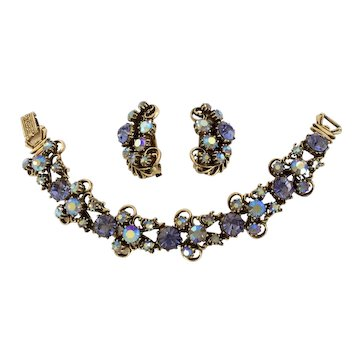 Florenza Aurora Borealis & Purple Rhinestone Bracelet/Earring Set