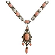 Czech Vintage Salmon Color Glass Pendant Gilt Necklace