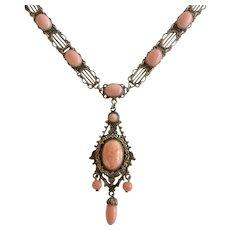Czech Vintage Salmon Color Glass Pendant Gilt Necklace