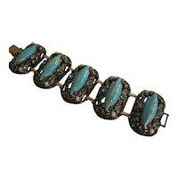 Vintage Renaissance Revival Turquoise Confetti Selro Wide Bracelet