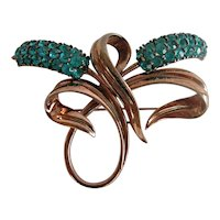 Pennino Sterling Vermeil Double Bulrush Turquoise Rhinestone Brooch, 1947