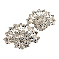 Vintage Austrian Pair of Gorgeous Rhinestone Brooches, Wedding