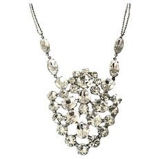 Weiss Vintage Clear  Rhinestone Pendant Necklace
