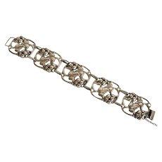 Sterling Art Nouveau stylized berries and leaf bracelet