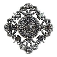 Exquisite Antique Early 19th Century Victorian Cut Steel Brooch