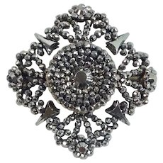Exquisite Antique Mid 19th Century Victorian Cut Steel Brooch