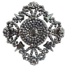 Exquisite Antique Mid 19th Century Victorian Cut Steel Brooch