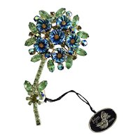 Juliana Green-Blue AB Pillowcase Brooch with Tag, Book Piece