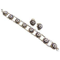 Vintage Blue and White Enamel Gilt Bracelet and Earrings