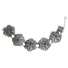 Topazio Vintage Filigree Sterling Silver Bracelet with Enamel