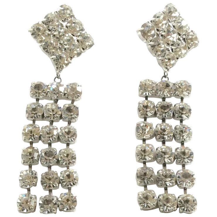 Vintage Glitzy Clear Rhinestone Dangle Earrings