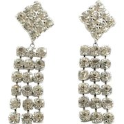 Vintage Glitzy Big Clear Rhinestone Dangle Earrings