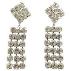 Vintage Glitzy Big Clear Rhinestone Dangle Earrings