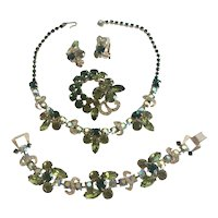Weiss Dark Green and Olivine Rhinestone Grand Parure