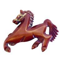 1940s Vintage Bakelite Prancing Horse Pin