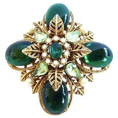 Green Cabochon Renaissance Revival Brooch by ART