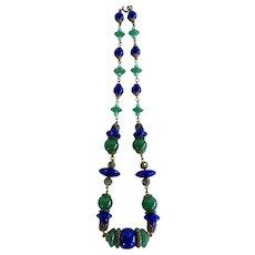 Czech Blue and Green Glass Bead & Brass Neiger Bros Necklace