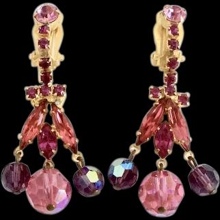Juliana Pink Crystal and Navette Rhinestone Dangle Earrings