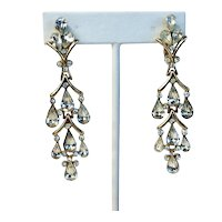 Crown Trifari Rhinestone Articulated Chandelier Earrings