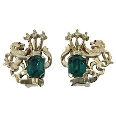 Crown Trifari Heraldic  Lion Earrings