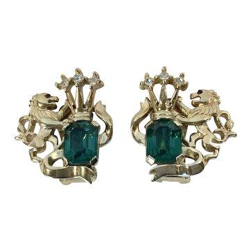 Crown Trifari Heraldic  Lion Earrings