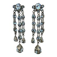 Vintage Rhinestone Chandelier Triple Drop Earrings