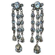 Vintage Rhinestone Chandelier Triple Drop Earrings