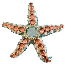 KJL Kenneth J. Lane Aqua blue, melon and turquoise colored Starfish Pin