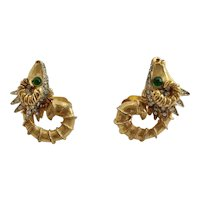 K.J.L.    Kenneth Jay Lane Mythical Aries Ram Zodiac Earrings