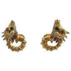 K.J.L.    Kenneth Jay Lane Mythical Aries Ram Zodiac Earrings
