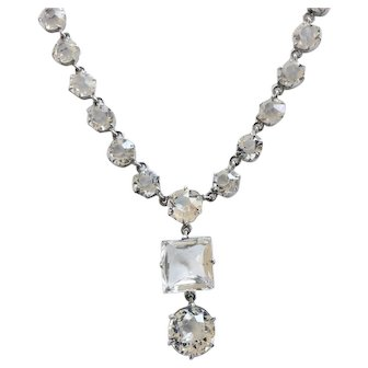 Edwardian Vintage Clear Un-foiled Faceted Crystal Necklace, Wedding Worthy