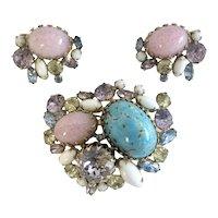 Hobé Blue, Pink & Violet Vintage Brooch & Earring Set