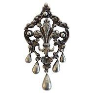 "Peruzzi, Florence ""800 Silver"" Vintage Fleur-de-lis Pin/Pendant"