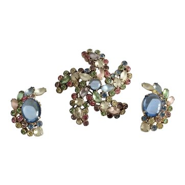Weiss Pastel Rhinestone and Cabochon Starfish Pin and Earring Set