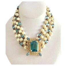 Rare Adele Simpson Book Piece Imitation Pearl and Aquamarine Glass Necklace
