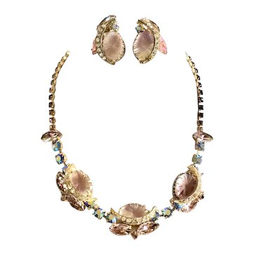 Juliana Pink and Lavender Pillowcase Givré Art Glass Necklace & Earring Set