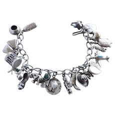 Sterling Vintage Western and Sweetheart  Charm Bracelet