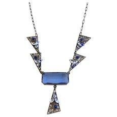 Czech Geometric 1930s Blue Glass & Enamel  Filigree Necklace