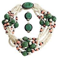 KJL Kenneth J. Lane Simulated Pearl, Jade, Coral Torsade Necklace & Earrings