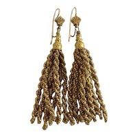 Victorian Gold-tone Cut Steel Micro-Bead Tassel Earrings