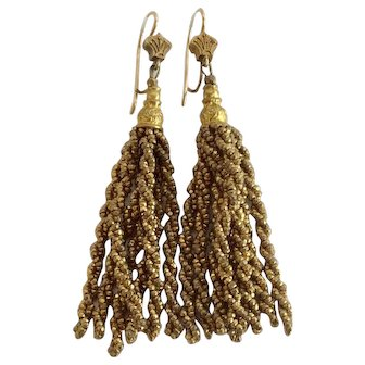 Victorian Gold-tone Cut Steel Tassel Micro-Bead Dangle Earrings