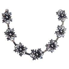 Antique Vintage Sterling Silver Renaissance Revival Flower Link Bracelet